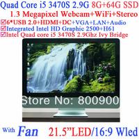 "desktop computers all-in-one 21.5"" LED intel i5 quad core 3470s 2.9Ghz Ivy Bridge CPU 16:9 1080P 8G RAM 64G SSD Windows Linux"