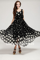 2014 women's new high-end European and American big big wave point chiffon dress free shipping