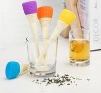 New 2014 Silicone art brush shape loose tea Bag tea Strainers Teaspoon Filter Infuser Silica Gel Filtration Creative gift