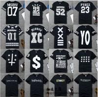 Hot 2014 Summer Gd exo hip-hop Numbers Letter Print T-shirt short-sleeve shirts street wear tees YO pyrex Number 23 52 07 01 XC