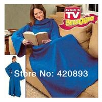 Free Shipping 3pc/lot Home Use Gift Blanket Sleeves Blanket TV Blanket Blue Snuggie Super Soft Fleece TV Blanket