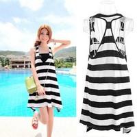 Promotions!Fashion Designer Summer Women's Striped Sundress Asymmetric Hem Comfy Vest Sexy Long Beach Dress Ladies Girls Skirts