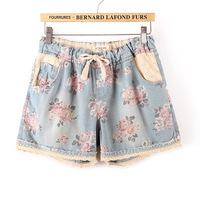 M L XXL XXXL 2014 summer new women denim shorts fat girl printing short1013