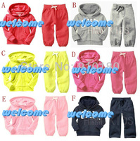 Hot selling 5sets/lot baby boys girls spring autumn clothing set kids hoodies+pants 2pcs set chidlren's tracksuits