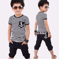 hot selling retail cotton kids boy and girl summer suit striped t-shirt + marine design pants 2pcs clothing set