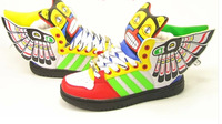 NEW style wing hip-hop shoes,New fluorescent men and women sneakers shoes wing hip-hop casual shoes patent leather shoes