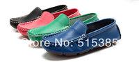 Girls' And Boys' Flat Slip On Genuine Leather Shoe,Blue,Pink,Green,Black Instock