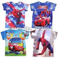 New designer t- shirt boy spiderman clothes for boys 3d t shirt summer clothes for boy, cars clothing shorts for boy kids wear
