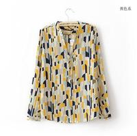 fashion women's tops 2014 new women chiffon Long Sleeve color print Shirt casual modern cozy lady blouse whole sale clothing