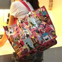 2pcs/lot New Fashion Waterproof Printing Women Ladies Shoulder Bag Handbag Shopping Bag Hot Sale BFSH-85