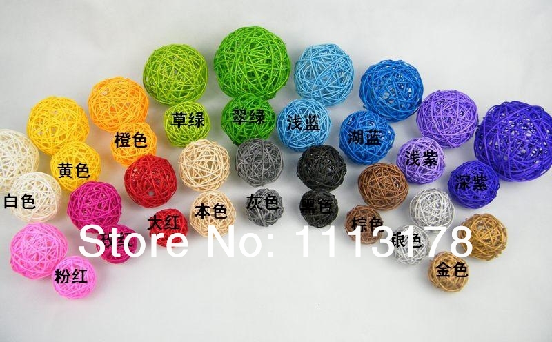 Free Shipping 60pcs/Lot 3cm Party Decoration Rattan Ball Wedding And Home Decoration Ornament Craft Ball(China (Mainland))