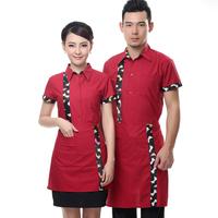 [20pcs-top&apron]  female uniform short-sleeve  women work clothes for restaurant waitress wholesale free ship