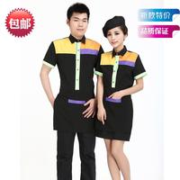 [20pcs-top&apron]  short-sleeve waiter uniform male Women  women work clothes for restaurant waitress wholesale free ship