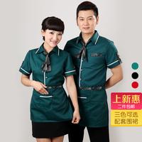 Male Women uniforms work wear summer shirt female clothes short-sleeve uniform  women work clothes for restaurant waitress