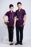 [20pcs-top&apron]  work wear waiter clothes uniform short-sleeve  women work clothes for restaurant waitress wholesale free ship