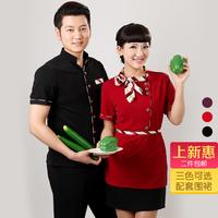 [20pcs-top&apron]  female clothes short-sleeve tooling male Women  women work clothes for restaurant waitress