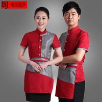 [20pcs-top&apron] waitress uniforms  waitress uniforms clothes short-sleeve   the waiter work clothes wholesale free ship