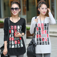 Network Block Printed Maternity Lady Loose T-Shirt PLUS Size L-4XL Autumn Woman Outdoor Casual Tees & Tops