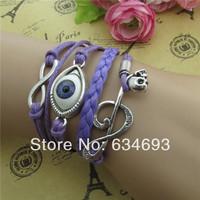 Fashion  Infinity Evil Eye Music Note Skull Beileve Charm Leather Bracelet Blue Wax Cord Bangle Jewelry for Men Women Gift