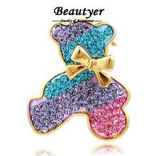 Cute Multi Color Bowknot Bear Ladies Brooch Fully Rhinestone Brooch Pin Wholesale Broach Jewelry (3colors) Beautyer XZ06