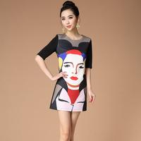 2014 Spring And Summer Slim One-piece Dress Basic Dress Fashion Dress Print Girls Face dress So Beautiful Dress Free Shipping