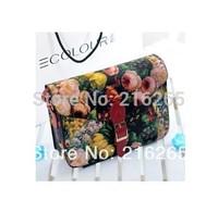 Free shipping! 2014 new wave of female British retro flower print canvas bag messenger bag shoulder bag handbag