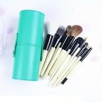 New !! Professional 12 PCs Makeup Brush Set Make-up Toiletry Kit Wool Brand Make Up Brush Set Case free shipping -Green