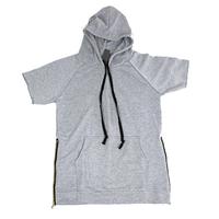 Free shipping high quality Fear of god grey sweatshirt short-sleeve hoodie kanye west apc wiz