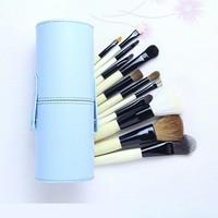 New !! Professional 12 PCs Makeup Brush Set Make-up Toiletry Kit Wool Brand Make Up Brush Set Case free shipping -Blue