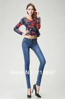 Free Shipping Plus Size Print Slim Skinny Pants Women Pencil Pants Trousers Jeans Trousers Pants Ladies Women 6315
