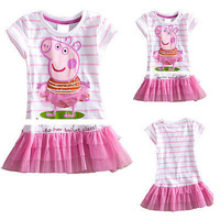 2014 new summer girl dress peppa pig clothing kids tutu lace child dress girl dresses princess baby wear flower free shipping