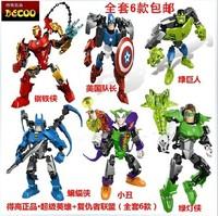 6pcs set Super Heroes The Avengers Iron Man Hulk Batman captain green lantern clown Building Blocks Sets DIY Bricks Toys