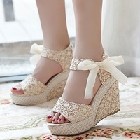 Summer open toe sandals female shoes platform shoes lace strap bow wedges high-heeled shoes women's lace High-heeled sandals