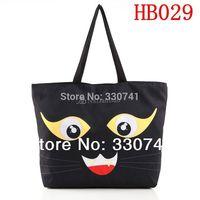 Black Cat Digital Print Shopping Shoulder Bag  Fashion  Canvas Computer Laptop Women Totes With Zipper HB029