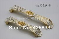 New 10pcs Golden with Rose Flower 96mm Zinc Alloy Handles Closet Cupboard Door Knobs Cabinet Pulls Shake Handshandle