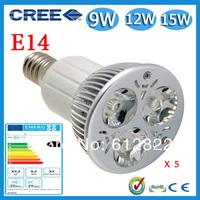 Factory directly sale 5pcs/lot CREE Bulb led bulb E14 9w 12w 15w 85-265V Dimmable led Light led lamps spotlight free shipping