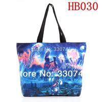 HOT SALE  Blue Print Canvas Computer Laptop Women Totes With Zipper Folded Shopping Shoulder Bag  HB030