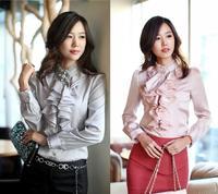 Autumn Spring New Women Big Bow Blouses Female Formal Long Sleeves Office Shirts Satin Feminina Social Blusas Manga Longa