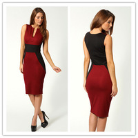 New 2014 Summer Vintage Elegant Sleeveless Knee Length Women Casual Bandage Tunic Work Wear Bodycon Pecil Cocktail Party Dress