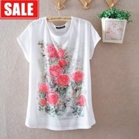 Summer women's rose chinese style loose thin breathable milk, silk round neck short-sleeve women's T-shirt