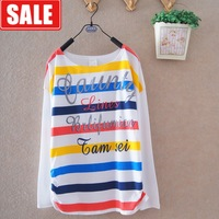 Women's spring and autumn new arrival 100% cotton loose batwing sleeve letter multicolour stripe o-neck long-sleeve T-shirt