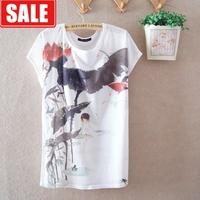 Women's summer chinese ink milk silk thin loose plus size batwing sleeve o-neck short-sleeve T-shirt women's