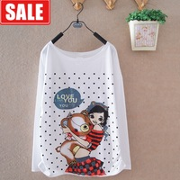 New arrival women's spring and autumn 100% cotton cartoon gentlewomen loose batwing sleeve dot women's o-neck long-sleeve