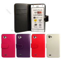 1000 pcs/lot  Wallet Leather Pouch Case Cover with Card Slot For LG OPTIMUS 4X HD P880