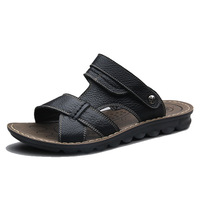 2014 summer men genuine leather sandals mens casual sandal  men's breathable fashion cutout slippers