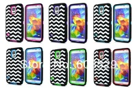 Wave Style 3 in 1 Combo Rubber Cover PC+Silicon Case For Samsung Galaxy S5 G900 i9600,MOQ 1pcs Free Shipping