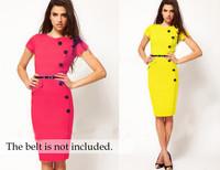 New Fashion 2014 Summer Women Vestidos Chic Empire Waist Knee Length V-Neck Plus Size Wiggle Pencil Bandage Bodycon Casual Dress