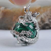 Green Malachite Round Bead Pendant Dragon Jewelry Free shipping S1158