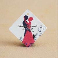 Free Shipping 30 pcs Personalized Rhombus Bride & Groom Wedding Favor Tag/Wedding Decoartion/Garden Supplies