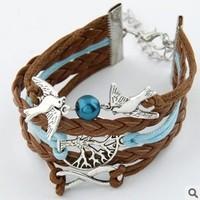 Promotion Hot Sell Classic Multilayer   Cross Bracelet Bangle Jewelry Leather Bracelet #cfsjsp_13072110